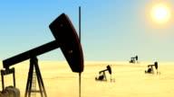 Oil wells in the desert video