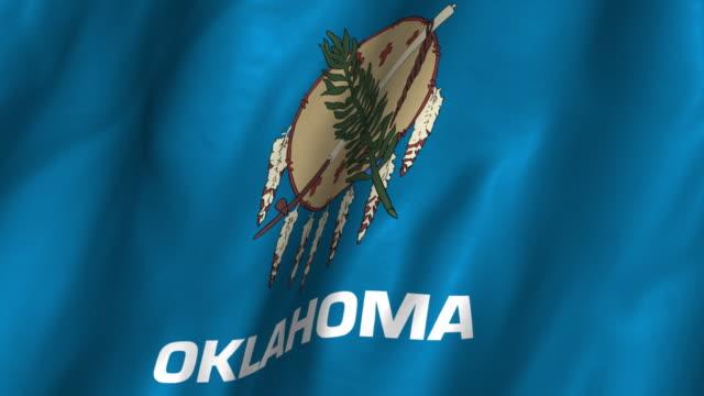 Oklahoma State Flag - waving, looping video