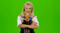 Oktoberfest girl with beer. Bavarian girl. Green screen video
