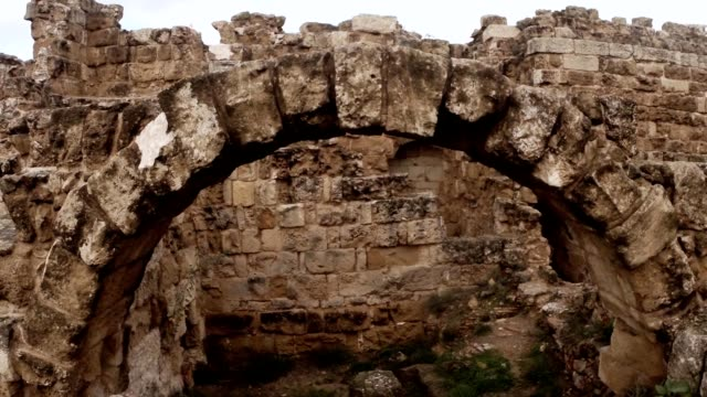 Old arch  in destroyed corridors ruins antique roman town Salamis east Cyprus Famagusta video