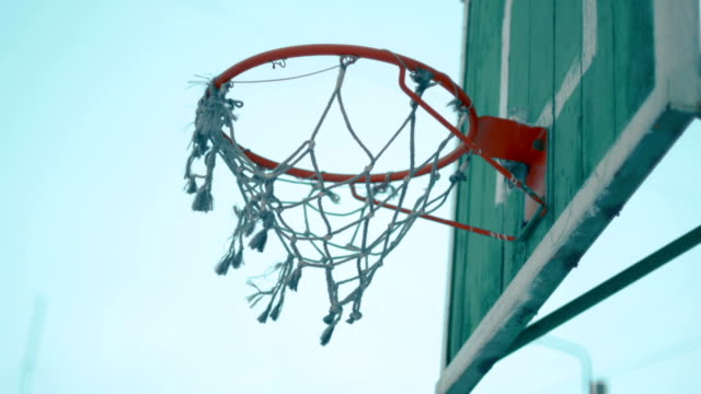 Old Basketball net on outdoor court video