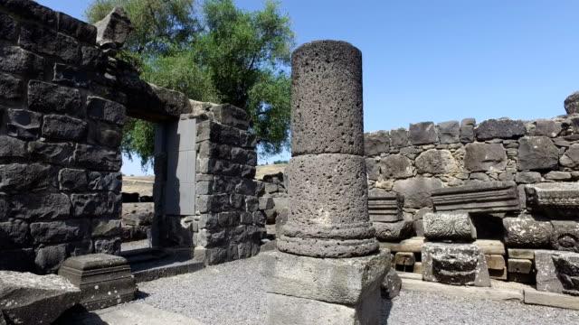Old Black Pillars in Synagogue Ruins in Israel video