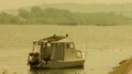 Old boat - retro, 1950's camera footage video