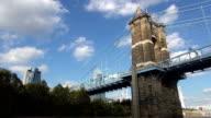 Old Bridge over Ohio River at a sunny day  - CINCINNATI, OHIO USA video