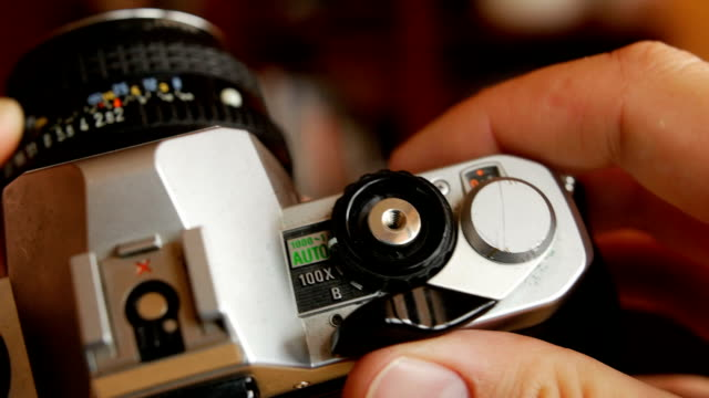 Old camera in hands video