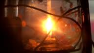 Old candle lantern flashing video