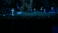 Old cemetery at night video
