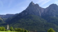 Old Church in Front of Mt. Schlern (South Tyrol) PAN video