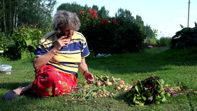 Old country woman is sit in vegetable garden and talking by cell phone. FullHD video