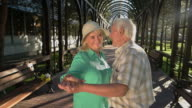Old couple is dancing. video