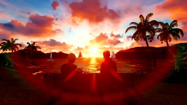 Old Couple Watching Beautiful Sunset Near Ocean video