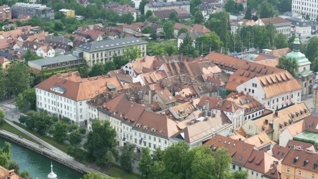 Old European architecture in Ljubljana downtown, sightseeing tour to Slovenia video