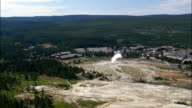 Old Faithful  - Aerial View - Wyoming,  Teton County,  helicopter filming,  aerial video,  cineflex,  establishing shot,  United States video