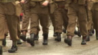 Old fashioned Army soldiers Marching in parade World War One video