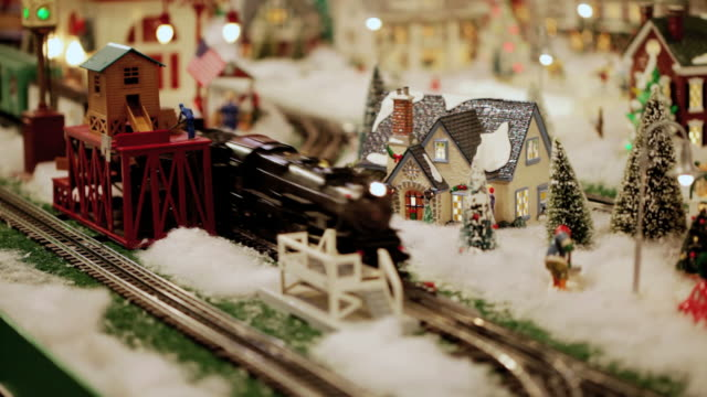 Old Fashioned Christmas Winter Wonderland with Toy Train Set (video) video