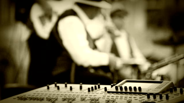 Old film effect: Jazz band music recording moment video