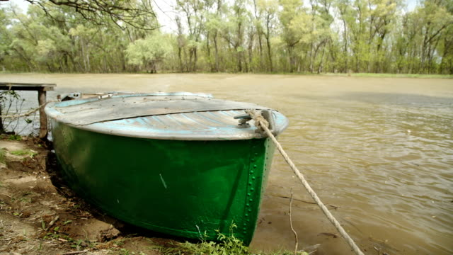 Old fishing boat on the river video