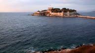 Old fortress, shoreline and sea, Kusadasi, Turkey video