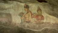 Old fresco paintings in a cave in Sigiriya, Sri Lanka video