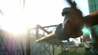 old gas pipe valve sunlight industrial video outdoor video
