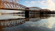 Old iron railway bridge in Prague,Czech Republic. video