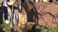 HD: Old man cleaving wood video