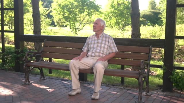 Old man sitting on bench. video