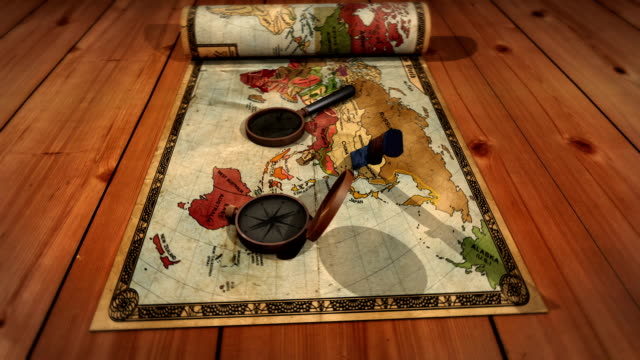 Old map with gadgets animation HD [Loop] video