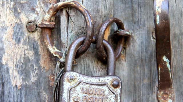 Old metal padlock video