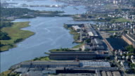 Old Mills In New Bedford  - Aerial View - Massachusetts,  Bristol County,  United States video