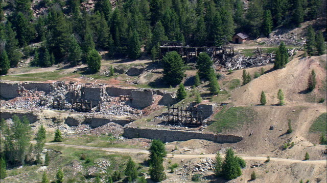 Old Mine Workings In Granite Ghost Town  - Aerial View - Montana,  Granite County,  helicopter filming,  aerial video,  cineflex,  establishing shot,  United States video