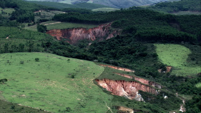 Old Mine Workings South Of Belo Horizonte  - Aerial View - Minas Gerais, Resende Costa, Brazil video
