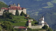 Old Monastery on a Mountain Rock in South Tyrol PAN video