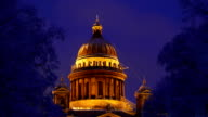 Old neoclassical orthodox basilica cupola at winter night, medium telephoto view video