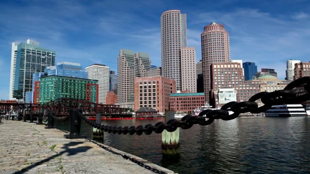 Old Northern Bridge crossing Boston Harbor video