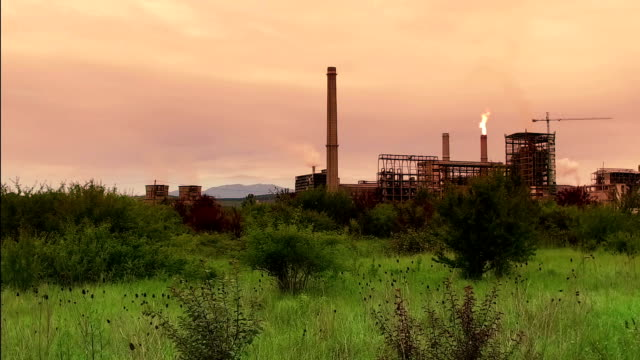Old Oil Refinery At Sunset Near Olt River Romania video