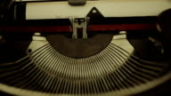 old olivetti typewriter: mechanism, paper, writing, typing, letters, keys, macro video