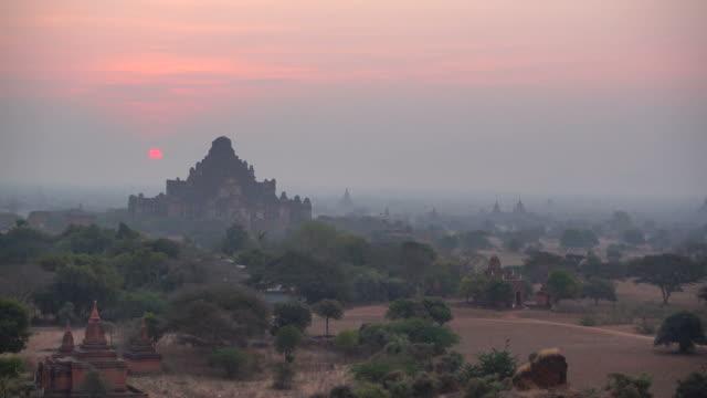 Old Pagoda in Bagan, Myanmar at Dawn Sky video