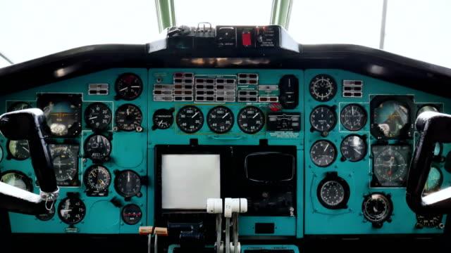 Old passenger plane cockpit console 4k video