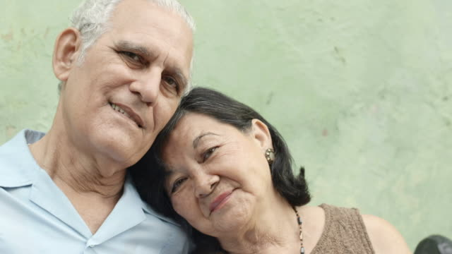 Old people in love, happy senior couple hugging and smiling video