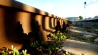old railroad rusty video bolts outdoors video