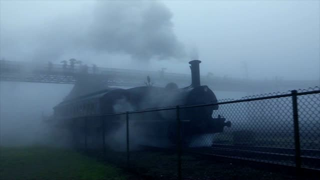 Old Railroad Train Departing during misty rainy day. Dreamy dreamlike night train leaving station video