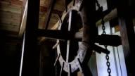 Old retro hoist (19th century) mechanism video
