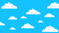 Old Retro Video Game Arcade Clouds Moving on a Blue Sky video