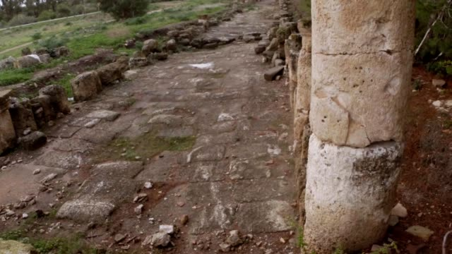 Old Roman road ruins ancient town Salamis east Cyprus Famagusta video