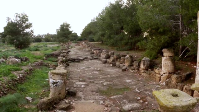 Old Roman road with remaining of colonnade ruins ancient town Salamis east Cyprus Famagusta video