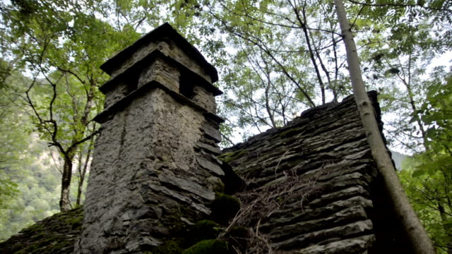 Old ruined building lost on the Italian Swiss Alps near Locarno. video