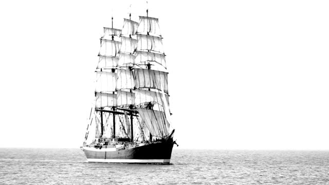 Old sailing ship in full sail video