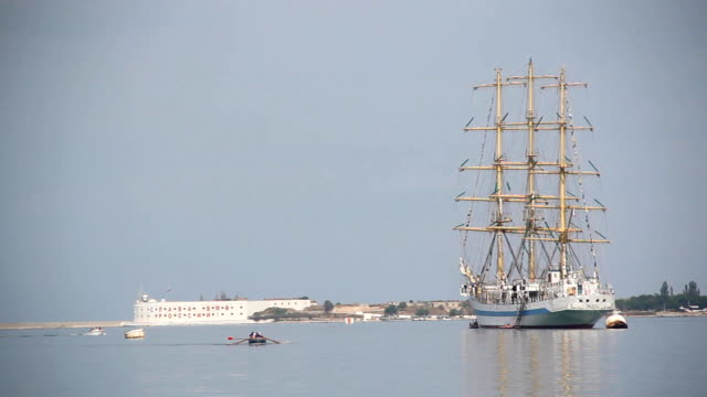 Old sailing ship in the harbor video