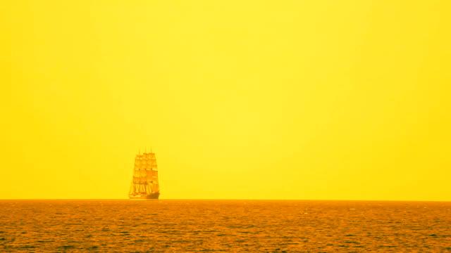 Old sailing ship under full sail video
